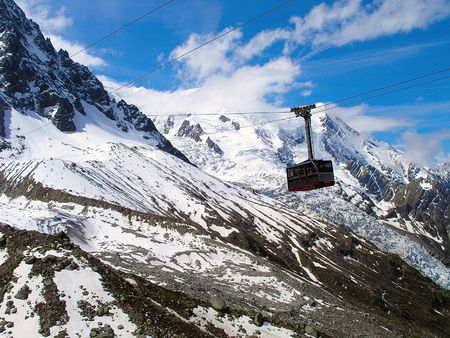 Cabin at cable car to top of  Aiguille du Midi.
