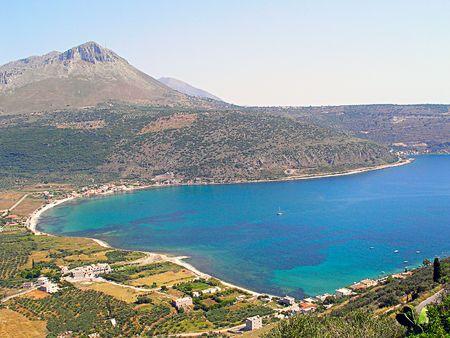 海岸のギリシャ、イオニア海のメッシーナ湾。 写真素材
