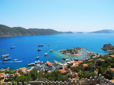 Island Dolichiste landscape from the city Simena, Turkey.
