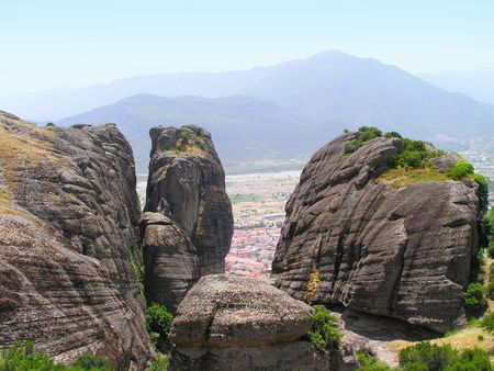 Rocks, on the tops of which are located  monasteries of Meteora.