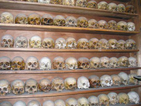 hermits: Meteora, Greece - June 25, 2007: The skulls of the dead monks in Meteora. Editorial