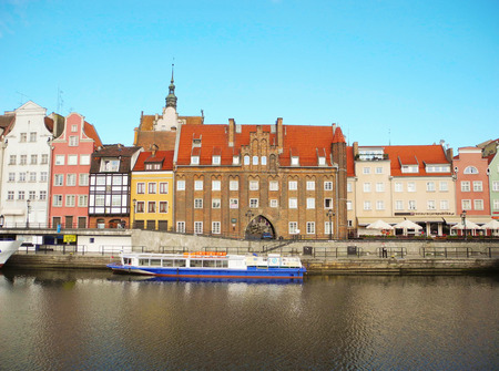 Gdansk, Poland - 8 May, 2015: Landscape architecture and river bank view of ancient port of Motlava at Gdansk city promenade riverside. Editorial
