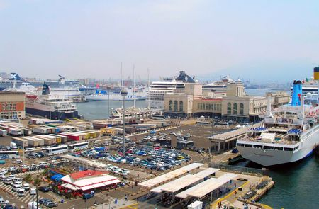 Naples, Italy - June 11, 2007: Ships in the seaport near the cruise terminal. Editorial