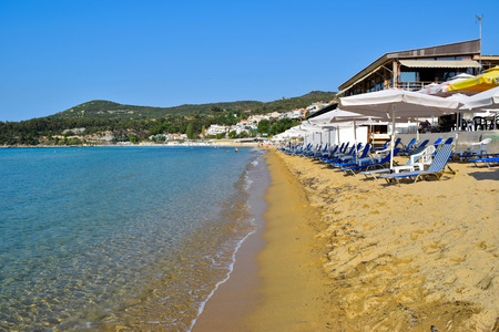 The sand beach of Kavala in Greece.
