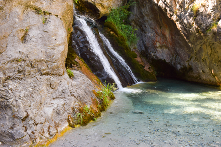 olympus: The waterfall in  Prionia, foot of Mount Olympus, Greece. Stock Photo