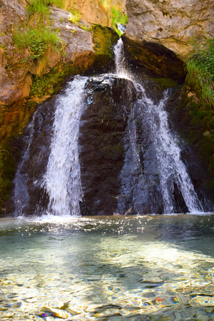 The waterfall in  Prionia, foot of Mount Olympus, Greece. Stock Photo