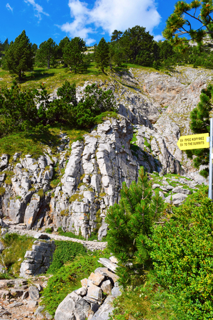 Walking route E4 from Prionia to Mytikas, mount Olympus.