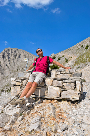 Short respite while climbing Olympus, highest mountain in Greece.