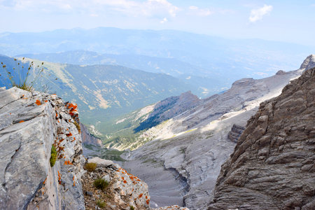 Landscape opening from the top of Mount Olympus. Stock Photo