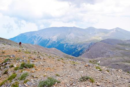 Skala peak. Ascent to Skolio Peak. Mount Olympus, Greece.
