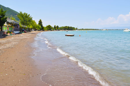 Beach Kamena Vourla on the coast of Aegean Sea in Greece. Stock Photo