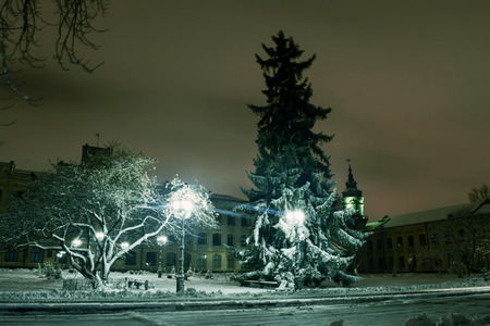 Snowy evening landscape of the city square.