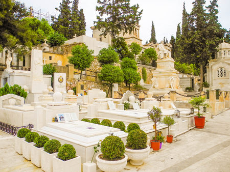 Athens, Greece - July 16, 2017: Burial at the first Athenian cemetery.