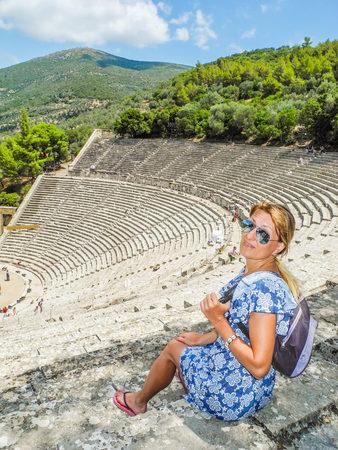 Ancient Greek amphitheater Epidaurus, island of Peloponnese, Greece. Stock Photo