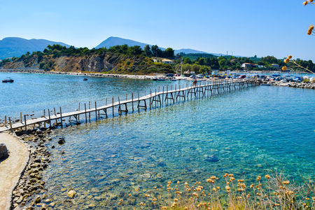 The wooden bridge to the island Cameo, Zakynthos, Greece. Stock Photo