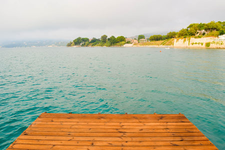 Pontoon on the Koukla beach, island Zakynthos, Greece.