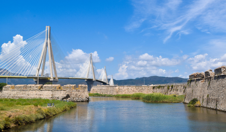 Bridge over the Corinthian Gulf, linking the peninsula Peloponessus and mainland Greece by road.