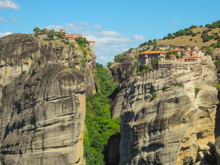 The rocks on which the monasteries of Meteora are located.
