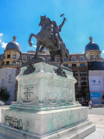 Bucharest, Romania - August 2, 2017: Equestrian statue of Governor Michael III in front of the university building.