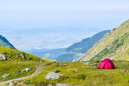 Tent on Transfagarasan road pass, Romania. Stock Photo