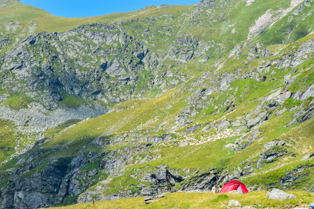Tents on Transfagarasan road pass, Romania.