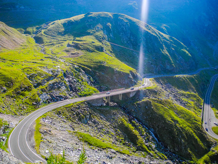 The Transfagarasan mountain road, located in Romania. Stock Photo