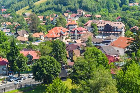 Bran cityscape, view from castle, Romania.
