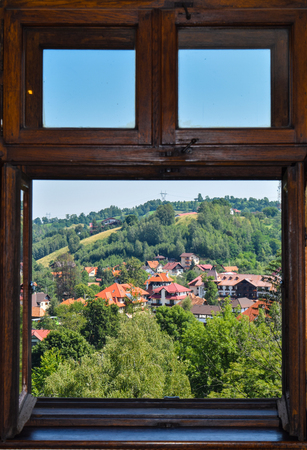 Landscape from the window of the Bran Castle.