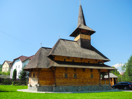Old wooden church in the town of Bran, Romania.