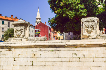 Zadar, Croatia - July 6, 2018: Cityscape and architecture of the old city of Zadar.