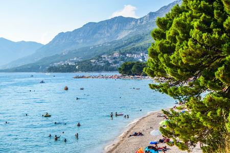 Beach in the resort town of Baska Voda, Makarska Riviera, Croatia.