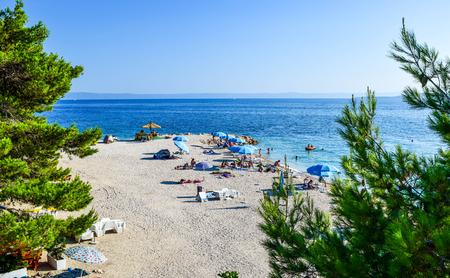 Beach in the resort town of Baska Voda, Makarska Riviera, Croatia.