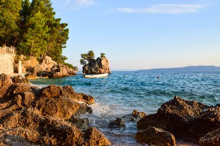 Brela Rock, Punta Rata Beach, Makarska Riviera, Croatia.. Stock fotó