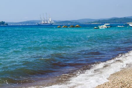Seascape of magnificent sailing ship, Croatia. 写真素材