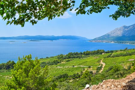 Landscape of the Peljesac Peninsula and Korcula Islands, Croatia.