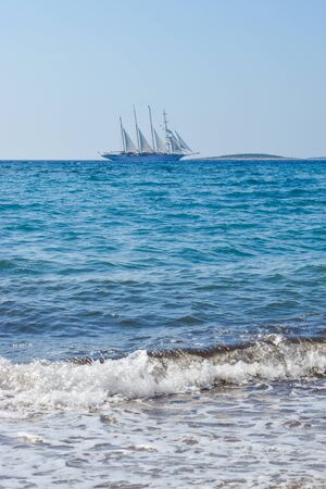 Seascape of magnificent sailing ship, Croatia. Stok Fotoğraf