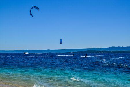 Beach Zlatni Rat (Golden Horn) Kitesurfing. Bol, Brac island, Croatia.