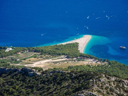 View of Zlatni Rat beach from Vidova Gora, Brac, Croatia.