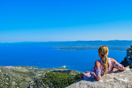 View of Zlatni Rat beach from Vidova Gora, Brac, Croatia.