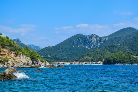 Landscape of the small town Zuljana, Peljesac peninsula, Croatia. Stok Fotoğraf