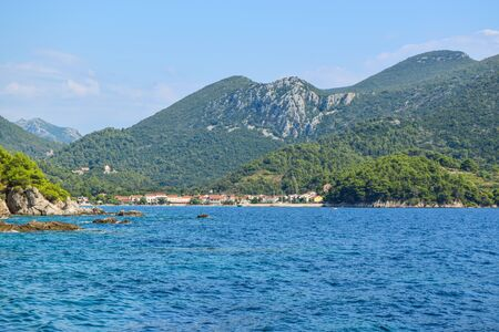 Landscape of the small town Zuljana, Peljesac peninsula, Croatia. Stock Photo