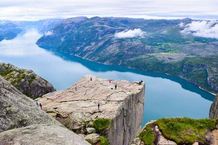 Prekestolen or Pulpit Rock and Lysefjord Landscape. Norway. Stock Photo