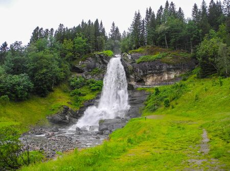 Steinsdalsfossen waterfall. One of the most visited tourist sites in Norway.