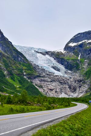 The road to the Boyabreen glacier, which is the sleeve of the large Jostedalsbreen glacier in Norway.