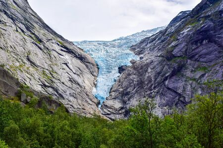 The Brikdalsbreen glacier, which is the sleeve of the large Jostedalsbreen glacier in Norway.