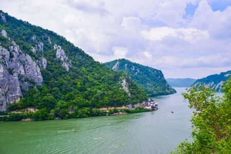 The Iron Gate or Djerdap Gorge - gorge on the Danube River in Djerdap National Park, Serbia and Romania border. This is the narrowest point of the largest and longest gorge in Europe. View from Serbia