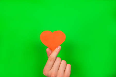 Guy's hand holding a red paper heart on green 免版税图像