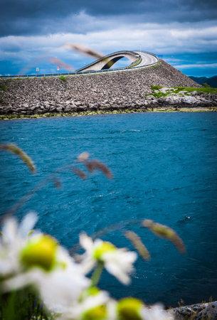 Storseisundet Bridge is set against dramatic blue cloudy sky and chamomile flowers. Storseisundbrua is the most famous and longest bridge of Atlantic Ocean Road, passing through islands in Norwegian Sea.
