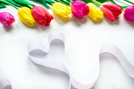 Colorfull fresh tulips flowers with ribbon heart on white background. Greeting card for Valentine's Day, Women's day, Mother's day, Family Day or other holiday. Flat lay. Copy space.