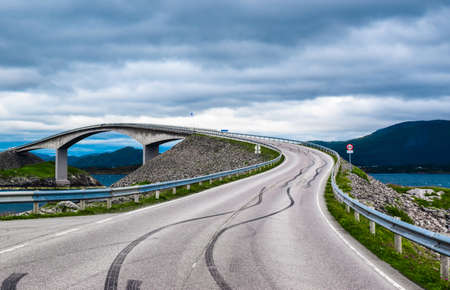 Storseisundet Bridge (Storseisundbrua) is the most famous and longest of the eight bridges that make up Atlantic Ocean Road. It is one of the country's official national tourist routes of Norway. Stock fotó